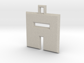 ABC Pendant - A Type - Solid - 24x24x3 mm in Natural Sandstone