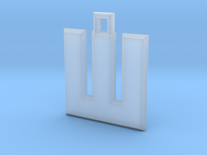 ABC Pendant - W Type - Solid - 24x24x3 mm in Smooth Fine Detail Plastic