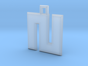 ABC Pendant - N Type - Solid - 24x24x3 mm in Smooth Fine Detail Plastic