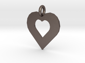 heart pendants in Polished Bronzed Silver Steel