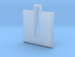 ABC Pendant - U Type - Solid - 24x24x3 mm in Smooth Fine Detail Plastic