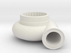 Large Single Turbo in White Natural Versatile Plastic