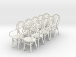 1:48 Bentwood Chairs with Arms (Set 10) in White Natural Versatile Plastic