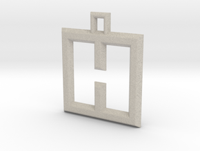 ABC Pendant - H Type - Wire - 24x24x3 mm in Natural Sandstone