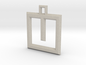 ABC Pendant - U Type - Wire - 24x24x3 mm in Natural Sandstone