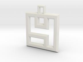 ABC Pendant - 4 Type - Wire - 24x24x3 mm in White Natural Versatile Plastic