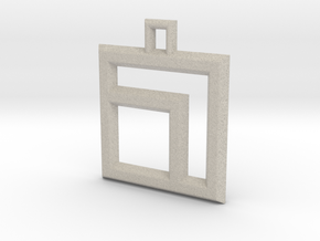 ABC Pendant - 7 Type - Wire - 24x24x3 mm in Natural Sandstone