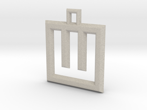 ABC Pendant - W Type - Wire - 24x24x3 mm in Natural Sandstone