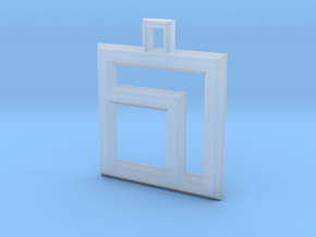 ABC Pendant - 7 Type - Wire - 24x24x3 mm in Smooth Fine Detail Plastic