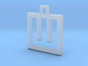 ABC Pendant - W Type - Wire - 24x24x3 mm in Smooth Fine Detail Plastic