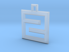 ABC Pendant - Z/2 Type - Wire - 24x24x3 mm in Smooth Fine Detail Plastic
