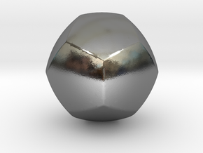 Curved Face Dodecahedron - Small in Polished Silver