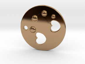 Love Disk V2 30mm in Polished Brass