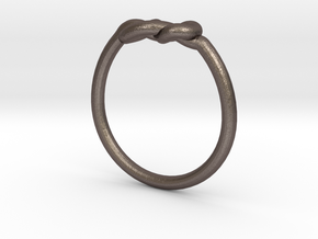 Infinity Knot-sz19 in Polished Bronzed Silver Steel