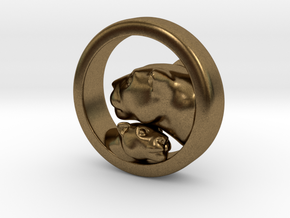 Lioness and Cub Pendant in Natural Bronze