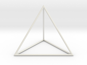 Tetrahedron 100mm in White Natural Versatile Plastic