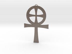 Large Gnostic Cross Pendant : Pectoral Cross in Polished Bronzed Silver Steel