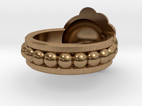 Golden Ratio Spiral Ring in Natural Brass