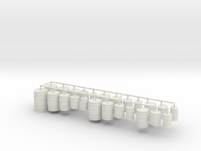 1:55 Scale Wooden Barrels in White Natural Versatile Plastic