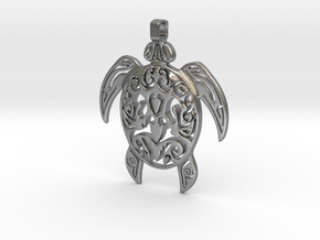 Pendant Turtle Tribal Pattern 002 - MCDStudios in Natural Silver