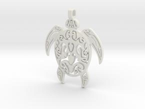 Pendant Turtle Tribal Pattern 002 - MCDStudios in White Natural Versatile Plastic