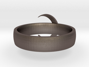 Moon Ring STL in Polished Bronzed Silver Steel