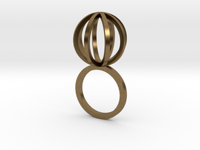 Ring With Sphere - size 9 in Natural Bronze
