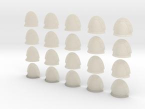 20 Custom Shoulder Pads Blank Rivet Crests in White Acrylic