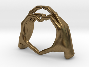 Hand-heart-27mm in Natural Bronze