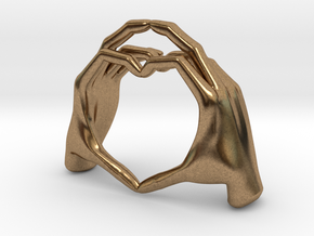 Hand-heart-27mm in Natural Brass
