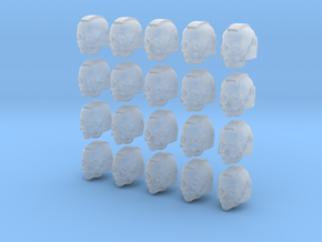 20 28mm Skull Helmets with Eyes in Smooth Fine Detail Plastic