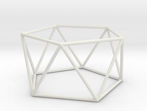 pentagonal antiprism 70mm in White Strong & Flexible