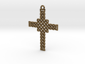 Celtic Knot Cross Pendant in Natural Bronze: Small