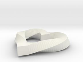 Valentines Mobius Heart Pendant in White Natural Versatile Plastic
