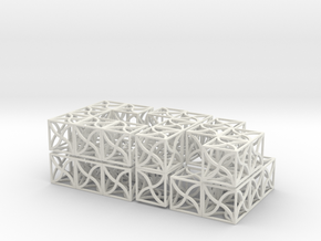 Twirl cubed puzzle (all parts)  in White Natural Versatile Plastic