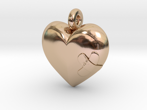 Wounded Heart Pendant in 14k Rose Gold