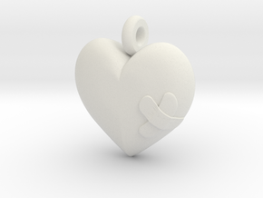 Wounded Heart Pendant in White Natural Versatile Plastic