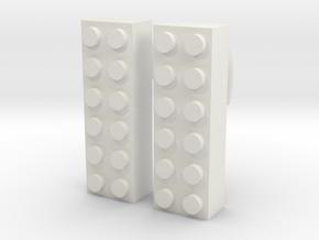 2x6 Brick Earring 00g in White Natural Versatile Plastic