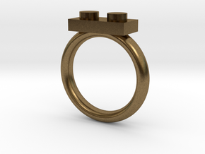 2 Block Lego Style Ring in Natural Bronze