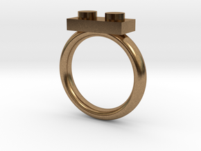 2 Block Lego Style Ring in Natural Brass