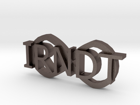 """IRNDT Logo Key Fob 3/4"""" height in Polished Bronzed Silver Steel"""