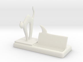 mr cat says Meow! business card holder in White Natural Versatile Plastic