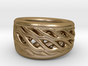 Flechtring in Polished Gold Steel