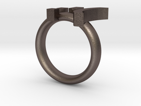 Cry Emoticon Ring :'( in Polished Bronzed Silver Steel