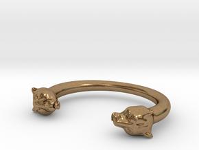 bracelet black panther in Natural Brass