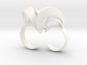 Ribbon Double Ring 6/7  in White Strong & Flexible Polished