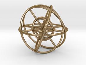 Sphere Inside Sphere 100mm in Polished Gold Steel