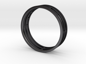 Nice modern ring : symmetrie at work in Polished and Bronzed Black Steel