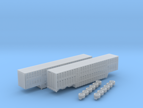 1:160 N Scale 3 Axle 53' Livestock Trailer x2 in Smooth Fine Detail Plastic