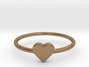 Knuckle Ring with heart, subtle and chic. in Natural Brass